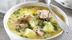 Instant Pot Potato Soup with Bacon and Cheese – A Mom's Impression - Suppe Salmon Soup, Salmon Chowder, Salmon Potato, Seafood Recipes, Soup Recipes, Cooking Recipes, Potato Bacon Soup, Finnish Recipes, Fish Soup