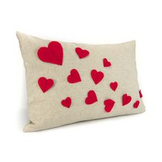 Growing hearts pillow cover  Red felt hearts by ClassicByNature, $46.00