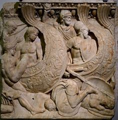 Fragment of an Attic sarcophagus relief with a scene of a sea battle. Marble. Beginning of the 3rd cent. CE. Inv. No. 154. Venice, National Archaeological Museum. (Photo by I. Sh.).