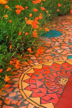 Mandala for backyard - Beautifull - Marble mosaic tiles - backyard. Marble Mosaic, Mosaic Glass, Mosaic Tiles, Stained Glass, Blue Mosaic, Stone Mosaic, Tiling, Yard Art, Garden Paths
