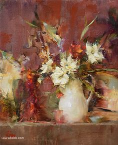 White Pitcher and Amaryllis by Laura Robb Oil ~ 12 x 10