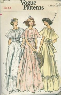 Items similar to Dress Pattern Vogue 9731 Capelet Dress Peasant Dress Boho Wedding Dress Bridal Gown Vintage Sewing Pattern Bust 32 Uncut on Etsy Vogue Dress Patterns, Vintage Dress Patterns, Dress Sewing Patterns, Vintage Dresses, Vintage Outfits, Pattern Sewing, 1970s Dresses, Sewing Ideas, Vintage Vogue