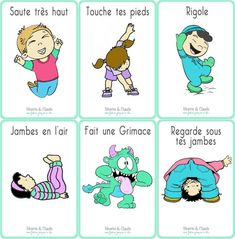 Fiches Jacques à dit - Les Expressions Corporelles - Ninette et Claude Kindergarten Classroom Decor, Kindergarten Games, Physical Activities, Activities For Kids, Jacques A Dit, Brain Gym, Relaxing Yoga, French Immersion, Teaching French