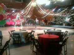 "The ""Glee"" Prom.. great gymnasium dance floor ceiling"