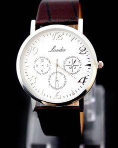 Hot Sale! Brown Fashion Man Mens Analog Dress 3 Eyes Dress Quartz Wrist Watches