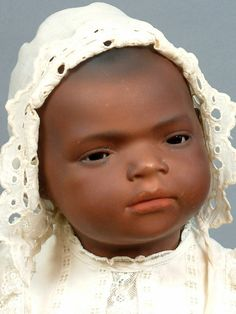 "UNCOMMON 17"" HEUBACH 399 BLACK CHARACTER BABY ANTIQUE DOLL w/POUTY EXPRESSION!!"