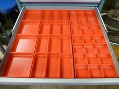 Red Plastic Boxes, Organize Your Workspace, bins, cups, storage Tool Drawer Organizer, Tool Box Cabinet, Tool Drawers, Plastic Organizer, Drawer Dividers, Tool Organization, Tool Storage, Storage Bins, Organizing