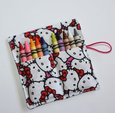 Crayon Roll made from Hello Kitty fabric holds up by FrogBlossoms, $3.00