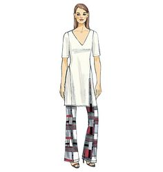 Glamorous long tunic and wide-leg pants sewing pattern has a kicky '70's retro style. Vogue Patterns V9159, Misses' Tunic and Pants