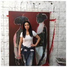 Mona Nahleh studio with work in progress