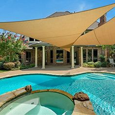 Amazing offer on e.share X X Sun Shade Sail Uv Top Outdoor Canopy Patio Lawn Triangle Beige Tan Desert Sand ? Canopy Outdoor, Outdoor Pergola, Backyard Pergola, Pergola Plans, Pergola Ideas, Pergola Kits, Backyard Ideas, Small Pergola, Patio Canopy