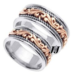 Two Tone Gold Paisley Carved Wedding Band 7mm TT 256A