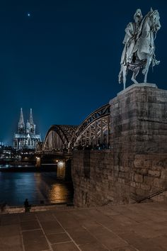 Cologne Cathedral - Hohenzollern Bridge & Statue of Wilhelm II on horseback  by night, Cologne - Germany
