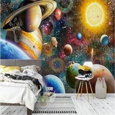 Children's Room Space Universe Wallpaper - 96W x 60H inches / Peel & Stick Paper