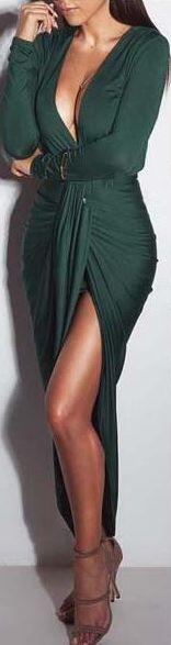 Plunging Neck Irregular Folded Dress