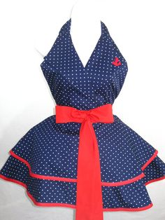 Sexy Polka Dot Navy and Red Pin Up Sailor Costume by sjcnace4, $55.00