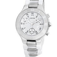 #cartierquartz #cartierwatchesforsale #cartierwatchesforwomen #Chronographwatch #engravedwatches Cartier Chronoscaph 21 analog-quartz white womens Watch W10184U2 (Certified Pre-owned) Check https://www.carrywatches.com