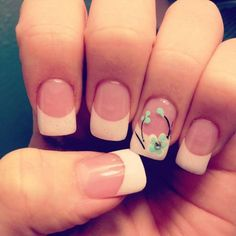 Simple floral French nail design French Nails, French Manicure Nail Designs, Simple Nail Designs, Nail Manicure, Nail Art Designs, Manicure Ideas, Nails Design, Gel Nails, Floral Designs