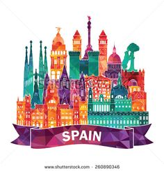 """""""Modern colorful skyline of Spain"""" Stickers by stylebytara City Icon, Map Painting, Travel Icon, World Cities, Instagram Highlight Icons, Travel Around The World, Travel Posters, Madrid, Paper Crafts"""