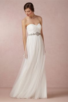 tulle strapless wedding dress with a belt for the wedding dresses under $500 roundup