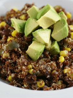 Red Quinoa with Avocado, Black Beans and Corn   5DollarDinners.com