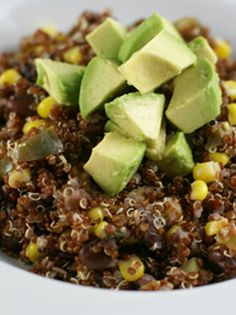 Red Quinoa with Avocado, Black Beans and Corn | 5DollarDinners.com