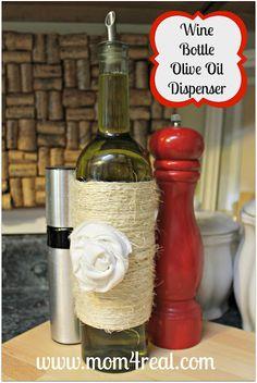 Wine Bottle Olive Oil Dispenser...ooh or a soap dispenser for the kitchen.
