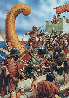 Pompeian troops repulsing Mediterranean pirates, 67CE