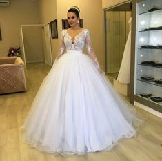 Apr 2020 - Miaoduo abiti da sposa Elegant Ball Gown wedding dresses with long sleeve V neck lace appliques and floor suit for weeding dress Weeding Dress, Wedding Flower Girl Dresses, Wedding Dress Trends, Princess Wedding Dresses, White Wedding Dresses, Bridal Dresses, Wedding Gowns, Bridal Gown, Girls Dresses Uk