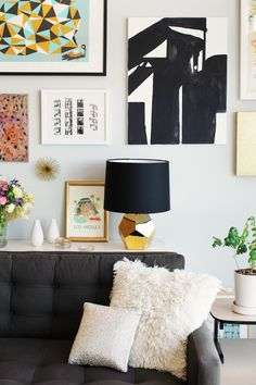 Gallery wall art, black and gold lamp