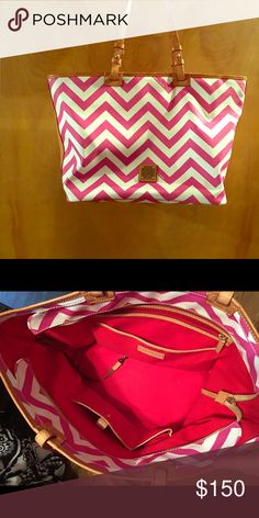 Authentic Dooney & Bourke Purse Authentic dooney & bourse pink chevron purse, in amazing condition, barely used, no holes or tears and comes from a smoke free home Dooney & Bourke Bags Shoulder Bags