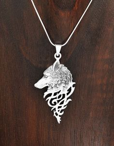 Sterling Silver Mystical Celtic Spirit Wolf Pendant Taxco Mexico #Handmade #Wolf