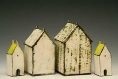 Wonderful ceramic houses - if I ever go back to my ceramics class, I want to create something like these, I can imagine a whole row of ceramic striped beach huts. Clay Houses, Ceramic Houses, Miniature Houses, Ceramic Clay, Ceramic Pottery, Bird Houses, Wooden Houses, Paper Houses, Wood Animals