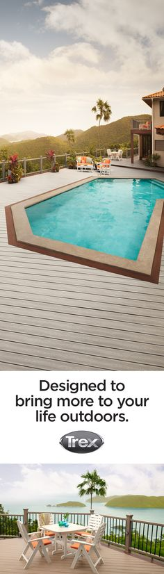 What is your idea of outdoor living? Trex Transcend composite decking is stylish and durable enough for surrounding a backyard swimming pool or setting up the ideal al fresco dining space. Check out trex.com/inspiration for more inspiring outdoor living space ideas.
