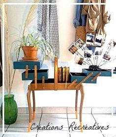 Rubrique des Créations sur creationsrecreatives.jimdo.com. Travailleuse vintage revisitée : meuble couture bleu Scarabée, orange Feu d'artifice et bois.