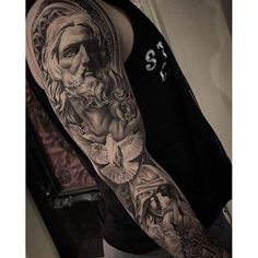 Emma Morris: Amazing artist Christopher Crooked Lee @chriscrooked Bernini Jesus Virgin Mary tattoo sleeve ...