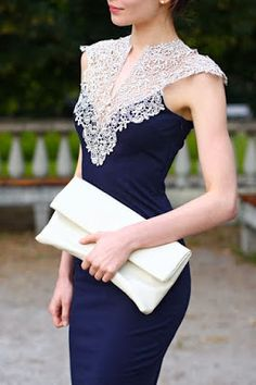 Amazing navy blue dress with lace details.