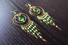Large Green Peruvian Chandelier Earrings - Tribal Earrings, Peruvian Jewelry, Dangle Earrings, Drop Earrings, Tribal Jewelry, Boho Chic