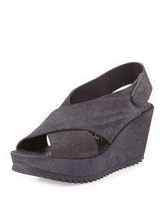 Federica Suede Wedge Sandal, Grey, Women's, Size: 9B - Pedro Garcia