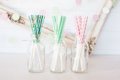 SHABBY CHIC floral, Mint solid & Pink Stripe Treat Stick Combo Pack - 36. $12.95, via Etsy.