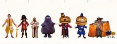 Learn to draw McDonalds Characters: Ronald, Grimace, Hamburglar, the Fry Guys and even a pirate and some old dude with baguettes in his pockets. Mcdonalds Birthday Party, Birthday Party Themes, Character Names, Character Costumes, Jake And Dinos Chapman, Vintage Valentine Cards, Retro Ads, The Good Old Days, Back In The Day