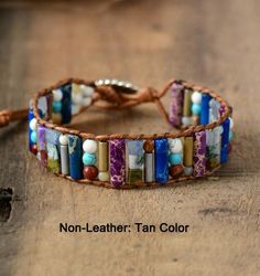 These Natural Stone Boho Leather Bracelet are simply stunning and complement any outfit. Bracelet Chakra, Beaded Cuff Bracelet, Stone Bracelet, Yoga Bracelet, Macrame Bracelets, Unique Bracelets, Layered Bracelets, Fashion Bracelets, Handmade Bracelets