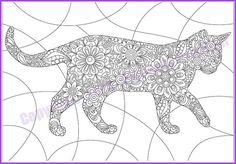 "nice Adult coloring page doodle flowers ""CAT"", zentangle (zendoodle) pattern, printable art original, PDF Dog Coloring Page, Animal Coloring Pages, Colouring Pages, Adult Coloring Pages, Coloring Books, Flower Doodles, Doodle Flowers, Mandala Coloring, Cat Drawing"
