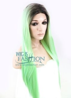 """24"""" Long Straight Green With Dark Roots Ombre Customizable Made-To-Order Lace Front Synthetic Hair Wig LF859"""