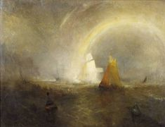 Joseph Mallord William Turner 'The Wreck Buoy', c.1807, reworked 1849 - Oil paint on canvas -  Dimensions Support: 927 x 1232 mm -  © Board of Trustees of the National Museums and Galleries on Merseyside
