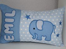 ♥ Kissen ★ Elefant ★ mit Namen bestickt + Inlett ♥ Quilt Baby, Baby Pillows, Throw Pillows, Textiles, Hobbies And Crafts, Diaper Bag, Projects To Try, Elephant, Etsy