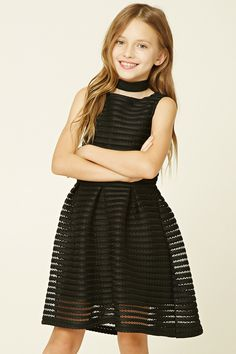 Forever 21 Girls - A sleeveless dress featuring striped and open-mesh panels throughout, woven underlayer, fit and flare silhouette, a round neckline, and a high-polish exposed back zipper with heart-shaped end.