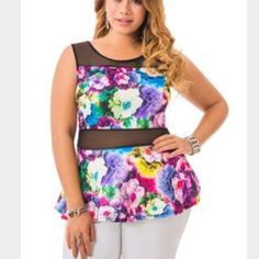 Plus size 26?Floral peplum top Size 26 never worn with tags Ashley Stewart Tops