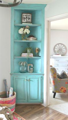 Turquoise painted corner built-in - It's She Den Makeover Reveal Day! - Refunk My Junk