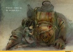 Big Daddy, BioShock, Games, Little Sister, Game art, game art